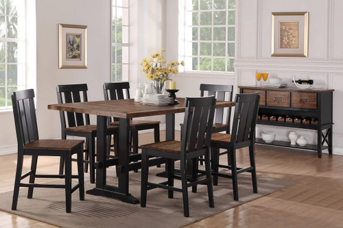 7PCS DARK BROWN COUNTER HEIGHT TABLE SET-F2330-F1572