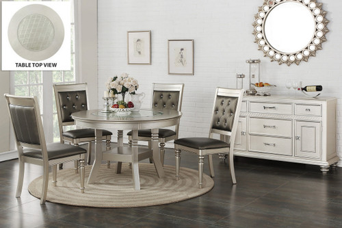 5PCS SILVER ROUND DINING TABLE SET-F2428-F1705