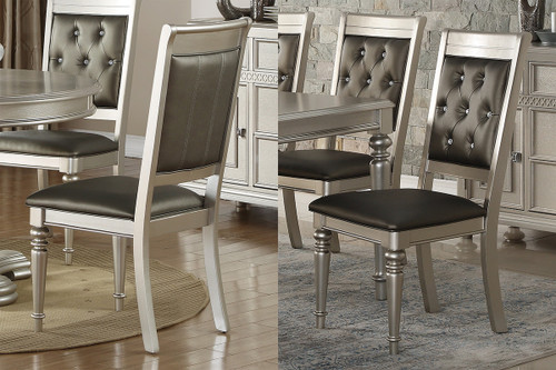 2PCS SILVER FINISH DINING CHAIR SET-F1705