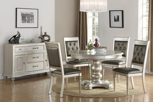 5PCS SILVER FINISH ROUND DINING TABLE SET-F2429-F1705