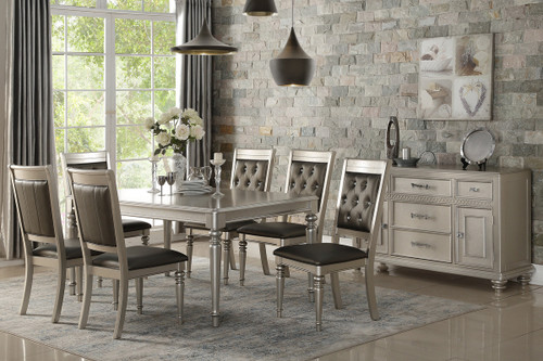 7PCS SILVER FINISH DINING TABLE SET-F2431-F1705