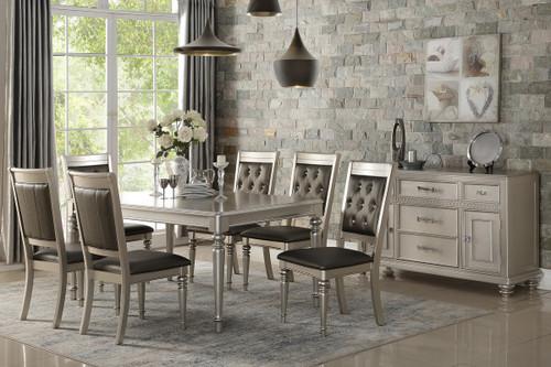 7PCS SILVER FINISH DINING TABLE SET-F2431-F1705