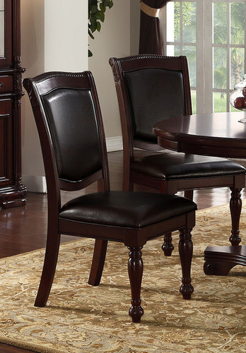2PCS CHERRY FINISH DINING CHAIR SET-F1729