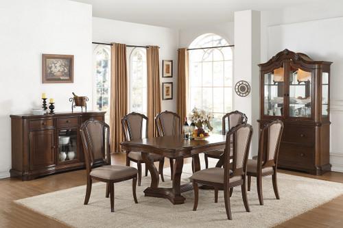 7PCS CHERRY RECTANGULAR DINING TABLE SET-F2453-F1737