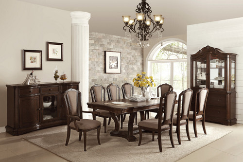 7PCS CHERRY FINISH DINING TABLE SET-F2454-F1737