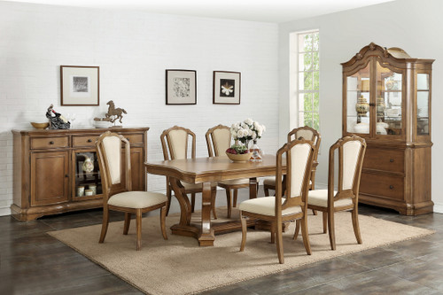 7PCS BROWN DINING TABLE SET-F2455-F1741