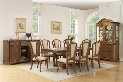 7PCS BROWN FINISH DINING TABLE SET-F2456-F1741