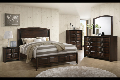 QUEEN/KING BED DARK BROWN-F9327