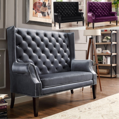 KAYLEE LOVESEAT IN ELEGANT GRAY VELVET