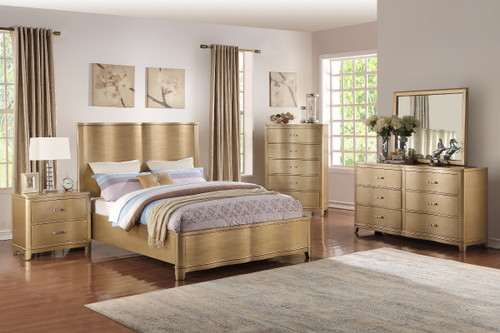 QUEEN/KING BED LIGHT WOOD FINISH-F9381