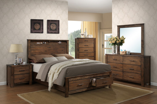 QUEEN/KING BED NATURAL WOOD-F9329