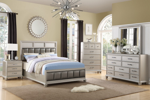 QUEEN BED SILVER FAUX LEATHER-F9356
