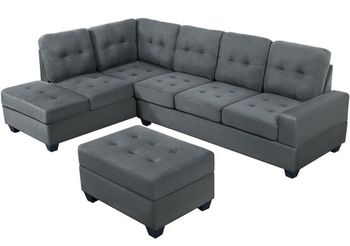 2PCS HEIGHTS BONDED LEATHER SECTIONAL WITH DROP DOWN CUP HOLDER SECTIONAL GRAY (Gray 2pcs 2302 sect