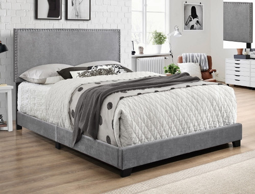 ERIN NAILHEAD VELVET BED IN GREY