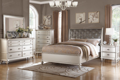 6 PCS GLAMOUR SILVER BEDROOM SET 2