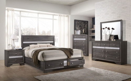 6 PCS REGATA PLATFORM GREY BED SET-B4650-Set-Q