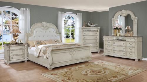 6 PCS STANELY ANTIQUE WHITE BED SET-B1630-Set-Q