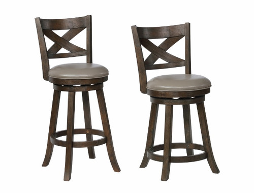 KIPPER SWIVEL PUB STOOL GREY K/D 2PCS SET-2793C-24-GY