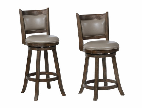 CECIL SWIVEL STOOL GREY K/D 2PCS SET-2798C-24-GY
