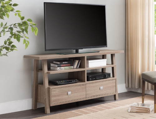 JARVIS TV STAND ASSEMBLED DRAWERS TAUPE