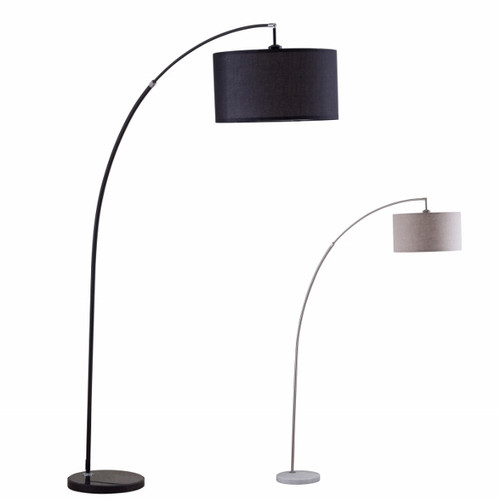 CHROME FLOOR LAMP W/WH MARBLE BASE-6224F-CR