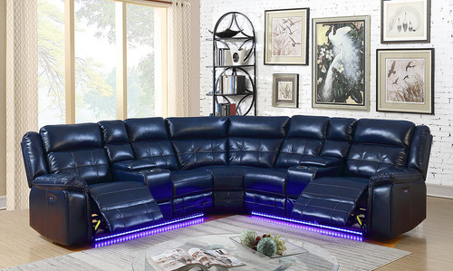 STARLIGHT MIDNIGHT BLUE COLLECTION 3PCS SECTIONAL SET-S7271