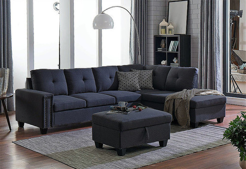 MIDTOWN GREY SOFA AND CHAISE WITH STORAGE OTTOMAN-S201