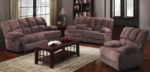 2PCS ANNABEL BROWN RECLINING SOFA AND LOVESEAT SET-S9086