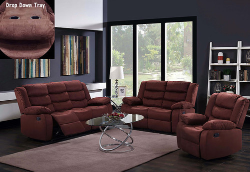 2PCS PATRICIA BROWN RECLINING SOFA AND LOVESEAT SET -S9292-B