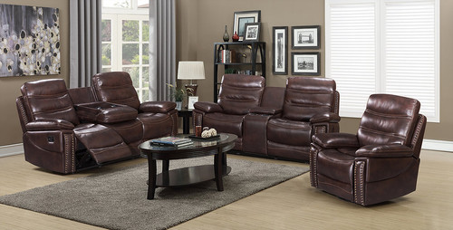 2PCS AUSTIN BROWN RECLINING SOFA AND LOVESEAT SET-S5169-B