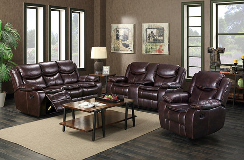 2PCS LIZ BROWN RECLINING SOFA AND LOVESEAT SET-S3035