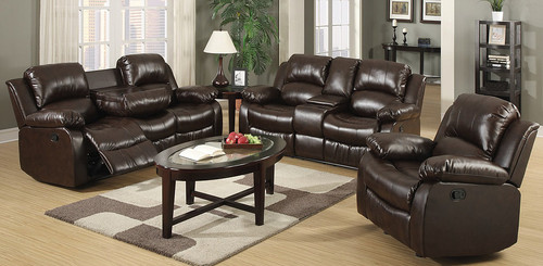 2PCS MARIA BROWN RECLINING SOFA AND LOVESEAT SET-S9393-B