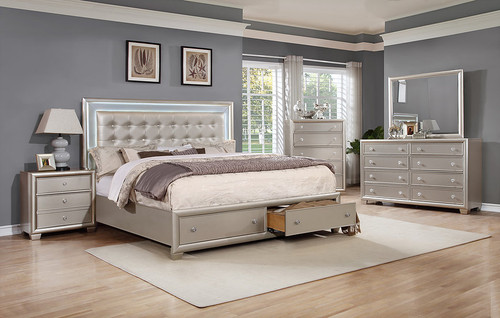ALICE SILVER KING STORAGE BED COLLECTION-B7100-N
