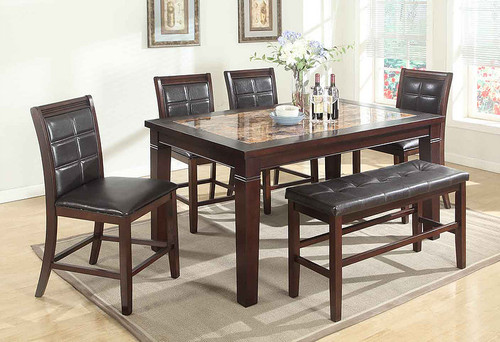5PCS MIKE DARK BROWN COUNTER HEIGHT TABLE SET-D2415-9912