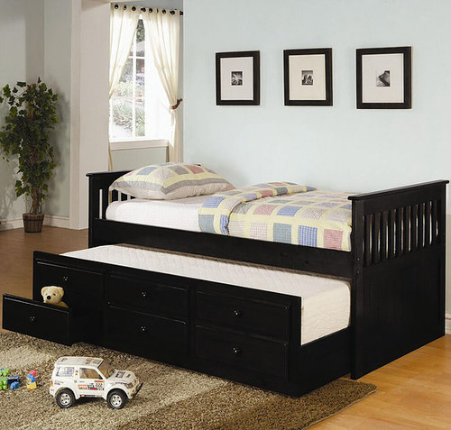 TWIN CAPTAIN BED WITH TRUNDLE AND STORAGE DRAWERS-B41-Black