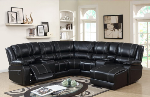 MARCUS 5 PCS COMPLETE BLACK  SECTIONAL RECLINER