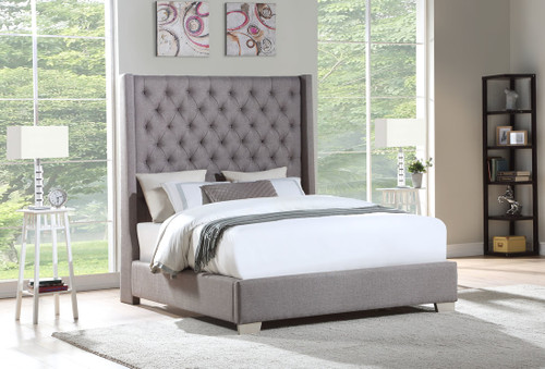 JULIANA GRAY LINEN FABRIC UPHOLSTERY BED