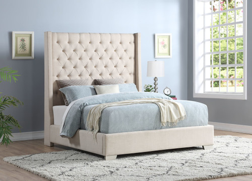 JULIANA OATMEAL LINEN FABRIC UPHOLSTERY BED