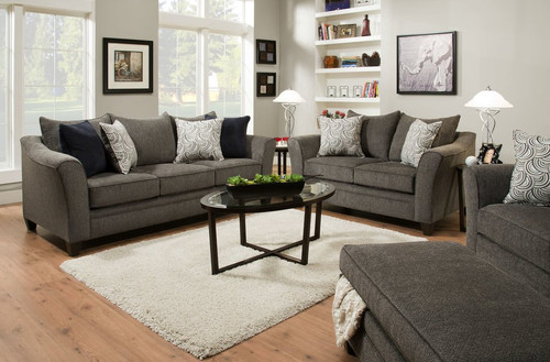 2PCS SIMMONS PEWTER SOFA AND LOVESEAT SET-6485-Pewter