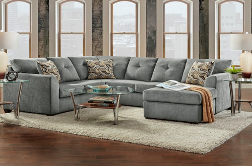 KELLY GREY COLLECTION SECTIONAL SET-3900-Grey