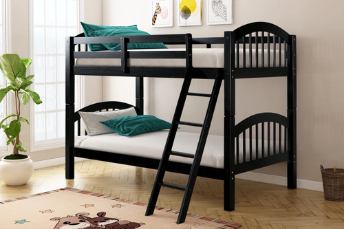 TWIN OVER TWIN BUNK BED BLACK-HH11-Black