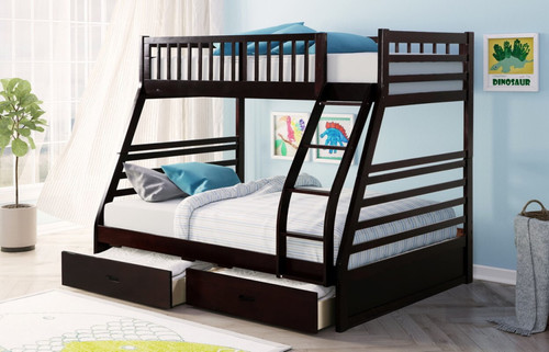 TWIN OVER FULL + 2 DRAWERS BUNK BED ESPRESSO-HH20-Espresso