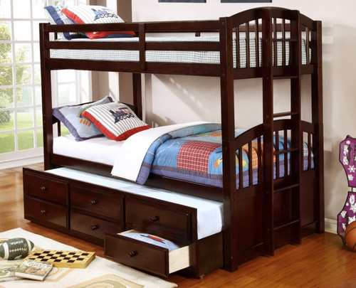 TWIN OVER TWIN BUNK BED WITH TRUNDLE AND DRAWERS-HH4000