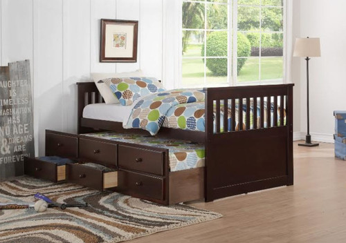 TWIN CAPTAIN BED W/TRUNDLE AND DRAWERS UNIT-HH8000