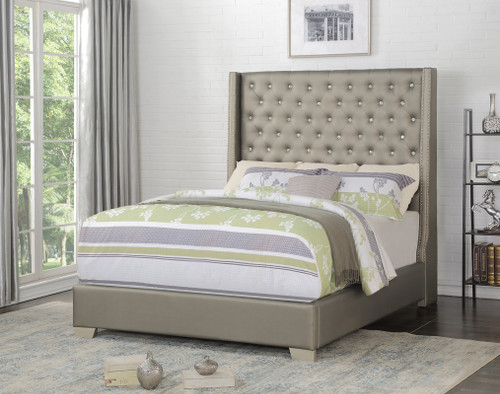 Diamond 6FT Grey Faux Leather Collection Bed
