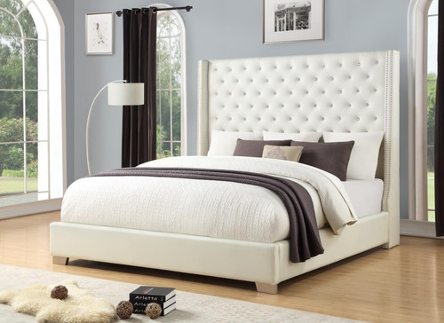 DIAMOND 6FT WHITE FAUX LEATHER COLLECTION-HH323