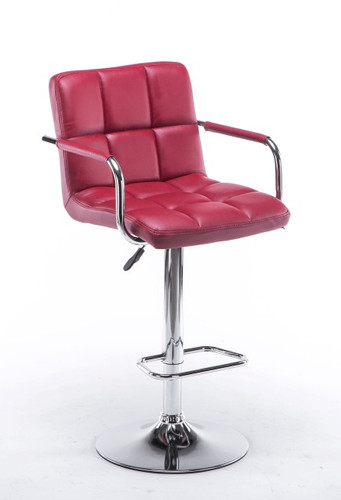 ADJUSTABLE 2 PIECES RED BARSTOOL WITH ARM-HHC2494-Red
