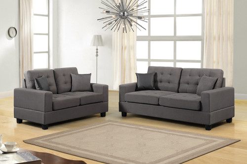2PCS ANGELO GREY SOFA AND LOVESEAT SET-HH8855