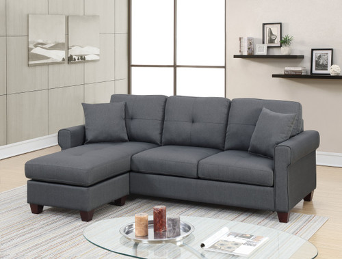 2PC LUCA REVERSIBLE SECTIONAL SET IN CHARCOAL-F6571