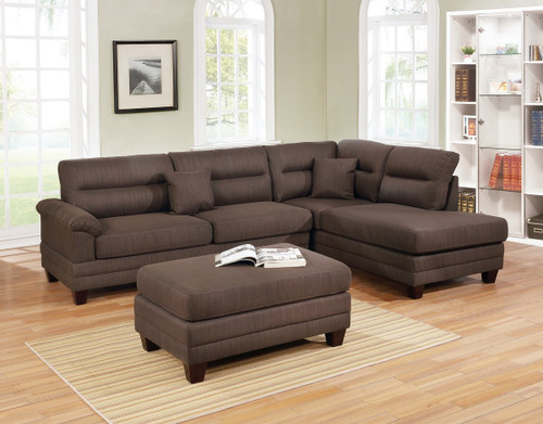 3PC BENITO SECTIONAL SET WITH OTTOMAN IN BLACK COFFEE-F6586